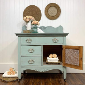 Pretty Blue Antique Washstand Before And After Paint Color Fancy Frock