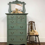 Teal and Gold Painted Chifferobe Makeover Paint color Wanderess