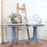 Yellow Oak table Gets a Dreamy Blue Makeover Paint Color Hurricane